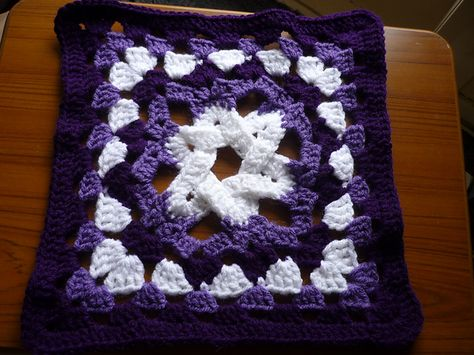 """Day 7: 12"""" Block of the Day - Granny's More Complex Star by Jacqui Goulbourn  Free Pattern: http://tiggerbee.blogspot.com/2010/02/grannys-more-complex-star.html  July 2013 #TheCrochetLounge #12inch #grannysquare Pick #crochet"""