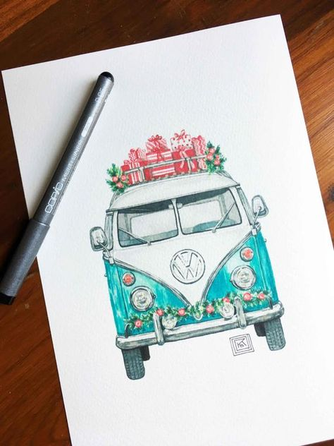 Christmas VW art print, christmas, holiday watercolor painting, volkswagen, vintage, classic car, ar