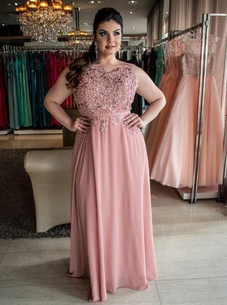 Pink Plus Size Prom Dresses,Long Plus Size