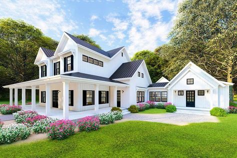 Dreamy Modern Farmhouse Plan with Loft Overlooking Great and Dining Rooms - 70603MK - 04