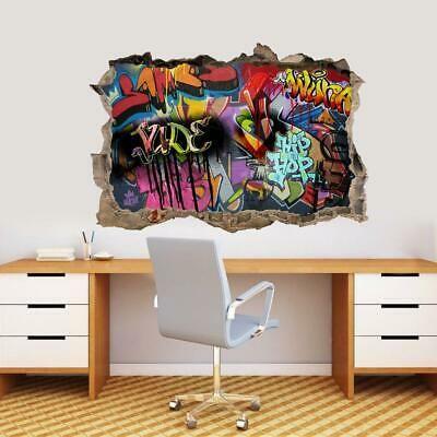 Personalized Graffiti Smashed Wall Decal Graphic Wall Sticker Decor Art WP173