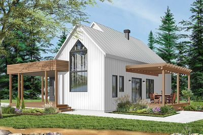 Plan 22530dr Charming Contemporary 2 Bedroom Cottage House Plan Modern Style House Plans Contemporary House Plans New House Plans