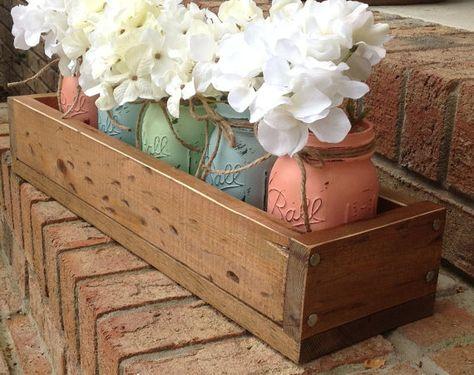 custom made rustic planter box wtih 5 painted mason jars. painted mason jars. rustic home decor. via Etsy