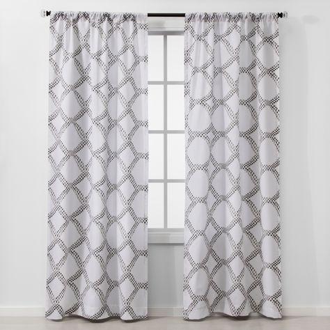 2pc 84 X40 Geometric Light Filtering Window Curtain Panels Gray