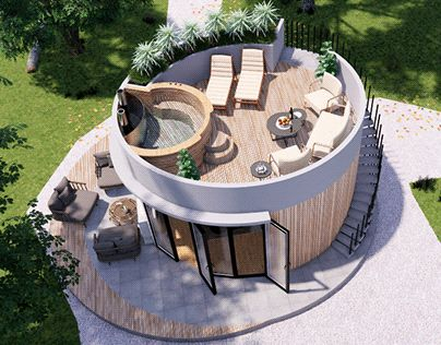 Round House Plans, Tiny House Plans, Tiny House Cabin, Sauna House, Casas Containers, Dome House, Small House Design, House In The Woods, Architecture Design