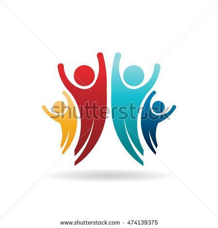 Happy People Family Group Logo Vector Illustration Children