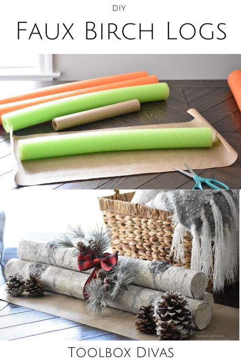Turn old pool noodles into something festive! Check out this simple Holiday DIY on how you can create Faux Birch Logs for this Christmas season! Farmhouse Christmas Decor, Rustic Christmas, Simple Christmas, Christmas Kitchen, Christmas Bedroom, Natural Christmas, Navidad Simple, Navidad Diy, Dollar Tree Christmas