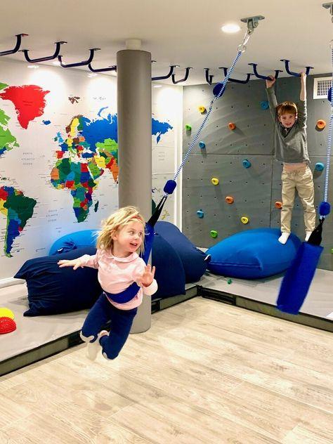 Playroom Design, Kids Room Design, Playroom Ideas, Playroom Stage, Garage Playroom, Indoor Playroom, Kids Basement, Kids Bedroom Designs, Cool Kids Rooms