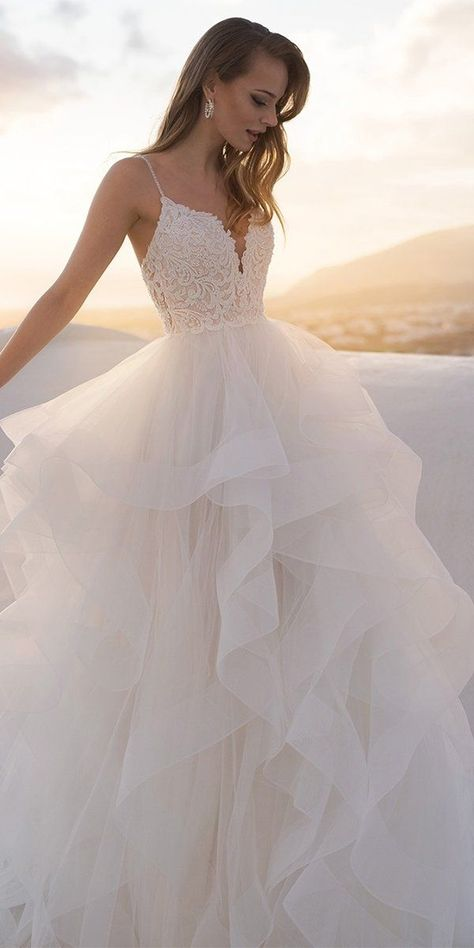 30 Ball Gown Wedding Dresses Fit For A Queen ❤  ball gown wedding dresses with spaghetti straps lace ruffled skirt blunnybridal #weddingforward #wedding #bride Plain Wedding Dress, Pretty Wedding Dresses, Princess Wedding Dresses, Bridal Dresses, Beautiful Dresses, Wedding Dress Sleeves, Lace Wedding, Lace Dress, Wedding Rings