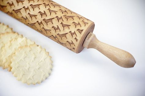 Laser-Engraved Dog Pattern Rolling Pin from Valek Rolling Pins. Imagine making dog cookies from this!