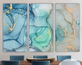Set Of 3 Wall Art Framed Painting Gold Art Abstract Mountain Etsy In 2020 3 Piece Canvas Art Triptych Wall Art Modern Canvas Art