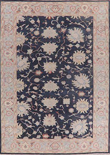 Vegetable Dye Navy Blue Floral Wool Oushak Turkish Area Rug Room Size Handmade Oriental Carpet 9x12 8 11 X 11 11 In 2020 Oriental Carpets Room Rugs Grey Area Rug