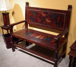 Painted Tooled Leather Bench Western Benches