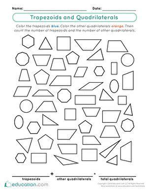 Trapezoids And Quadrilaterals Worksheet Education Com Quadrilaterals Shape Worksheets For Preschool Quadrilaterals Worksheet