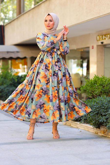 Elizamoda Haki Kol Buzgulu Cicekli Tesettur Elbise 2020 Elbise Elbiseler Elbise Modelleri