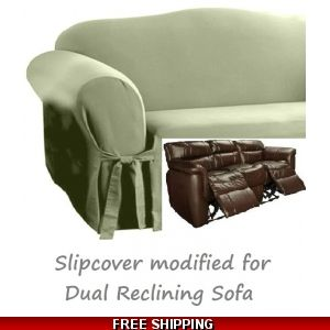 Dual Reclining Sofa Slipcover T Cushion Shabby Toile Red Surefit
