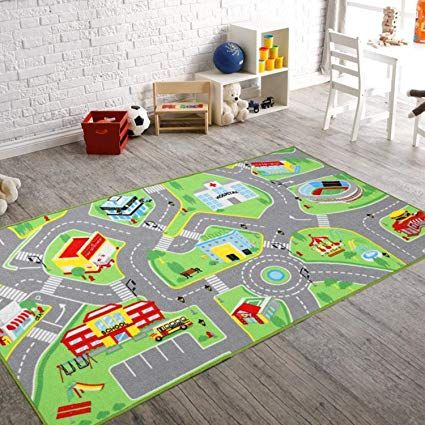 Amazon Com 79 X40 Kids Rug Play Mat For Toy Cars Safe Colorful