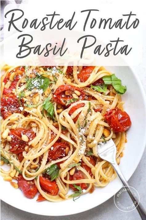 This slow roasted tomato and basil pasta with pine nuts will help you use up late summer tomatoes and basil for a simple and delicious dinner! This easy vegan pasta recipe is also perfect for date night. Roasted Tomato Pasta, Slow Roasted Tomatoes, Tomato Basil Pasta, Pasta With Basil, Tomato Linguine Recipes, Cherry Tomato Pasta, Tomato Recipe, Vegetarian Recipes, Cooking Recipes