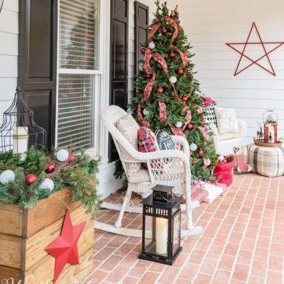 Amazing Christmas Diy Porch Decoration Ideas Porch Christmas Tree Christmas Porch Farmhouse Christmas Decor