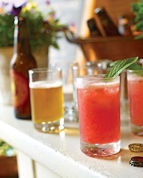 Raspberry Cocktail with Rhubarb Wine and Maple Vodka - Martha Stewart Recipes