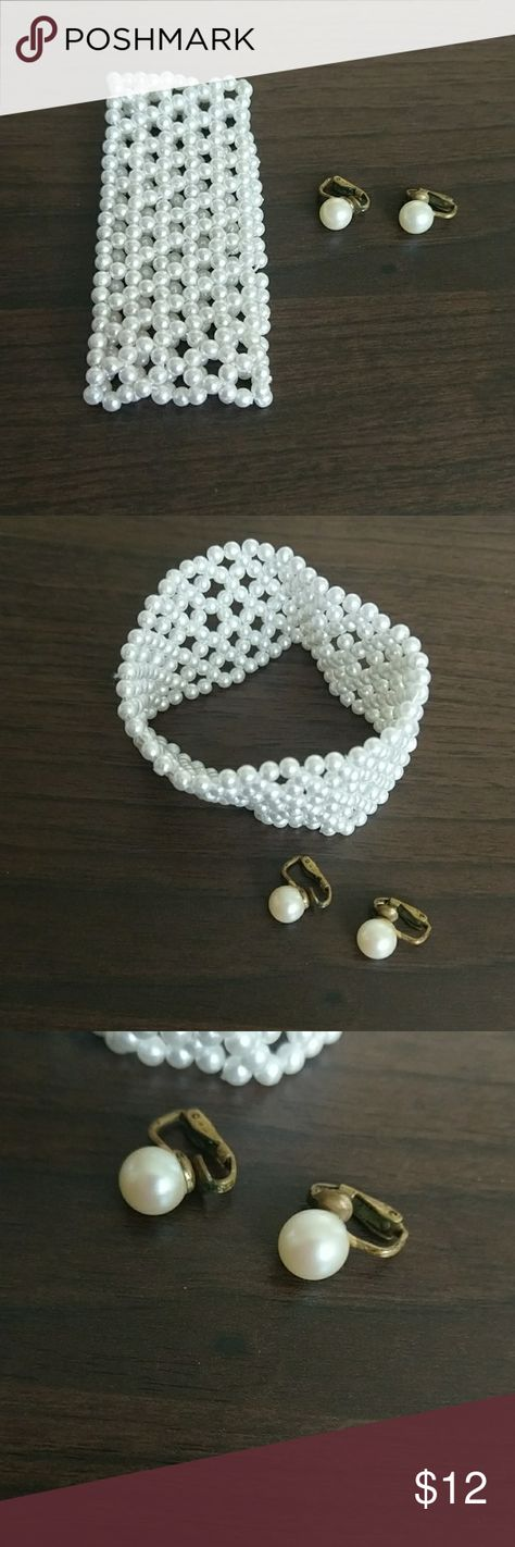 """SALE!!! Faux Classy Jewlery Set Faux Pearl Earrings and Costume Jewlery Bracelet. I recently inherited some jewelry that I am looking to send to a loving home! Please feel free to bundle (for a 10% discount) and submit offers on """"liked"""" items! :) Jewelry Earrings"""
