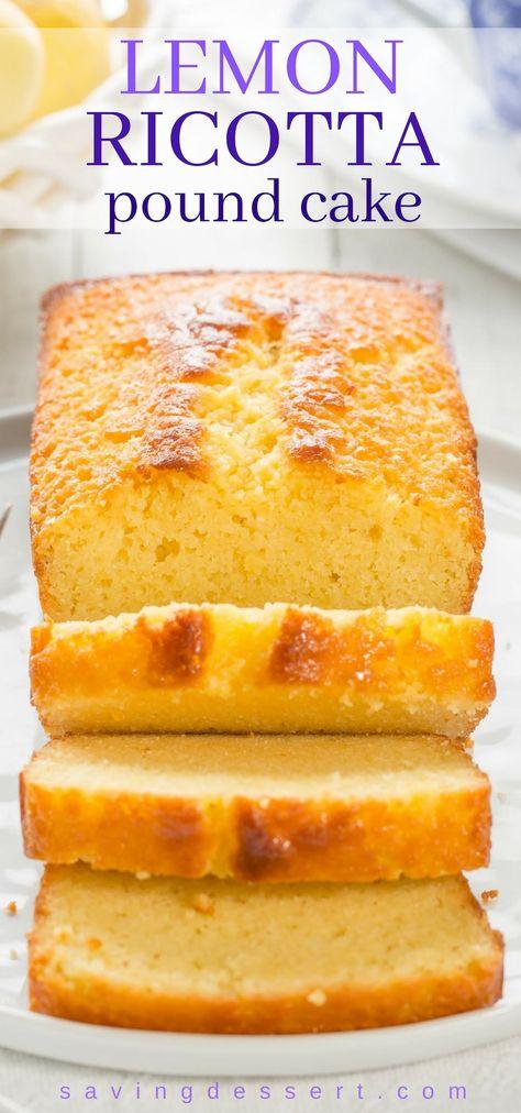 Easy Lemon Ricotta Pound Cake - a terrific little cake with plenty of lemon flavor and an amazing moist texture. Lightly glazed with an intense lemon syrup for plenty of bite and tang. #lemon #poundcake #ricottapoundcake #lemonpoundcake #cake #dessert #easypoundcake
