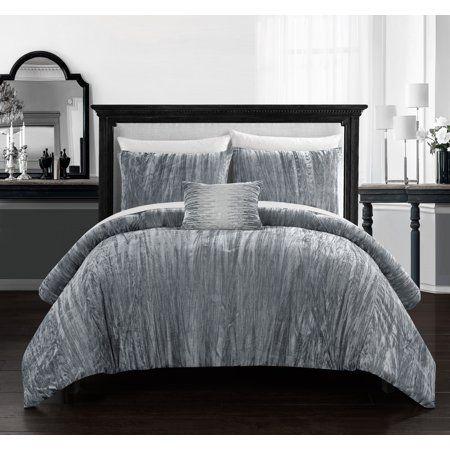 BEAUTIFUL MODERN WHITE GREY BLACK SILVER CRINKLE TEXTURE RUFFLE COMFORTER SET