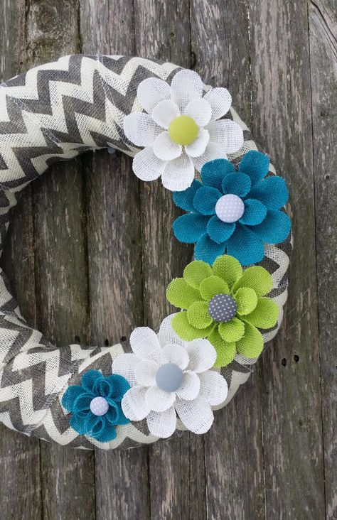 Sweet little wreath I just picked up for my front door on Etsy! Spring Wreath Chevron Burlap Wreath with Teal by BurlapBlooms
