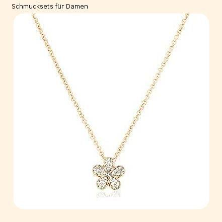 Edelstahl Schmuckset Kette Halskette Ohrringe Ohrstecker gold farben Zirkonia