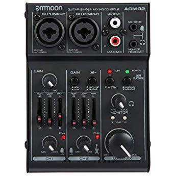 Ammoon Mini Table De Mixage 2 Canaux Console De Mixage Mixeur Audio Numerique Carte Son Eq 2 Bandes Integrees Avec Alimentation Fan Table De Mixage Usb Karaoke
