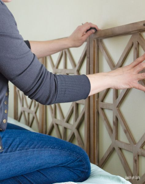 Make your own DIY Headboard from decorative wall panels. This project is easy to complete, can be installed in less than an hour, and it's affordable! Headboard Easy DIY Headboard made from Decorative Wall Panels Woodworking Furniture Plans, Wood Pallet Furniture, Furniture Projects, Diy Furniture, Wood Projects, Woodworking Store, Diy Bed Headboard, Headboard Designs, Diy Headboards