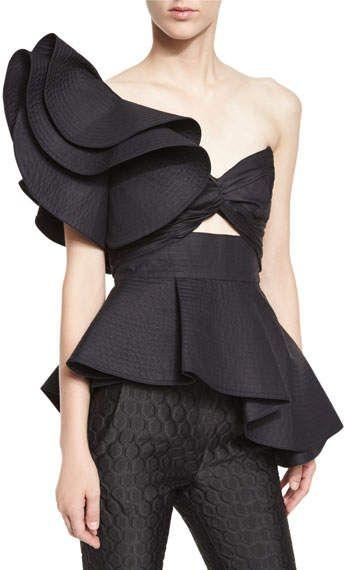 Johanna Ortiz Maria de Medici Large-Ruffle One-Shoulder Bandeau Top, Black