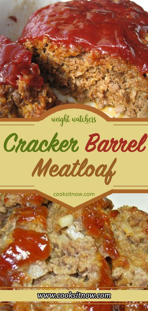 Cracker Barrel Meatloaf, Try this easy copycat recipe and see why! MEATLOAF: SIMPLE, TASTY AND COMFORTING #meatloaf #CopycatCrackerBarrelrecipes #Meatloafrecipes #WW