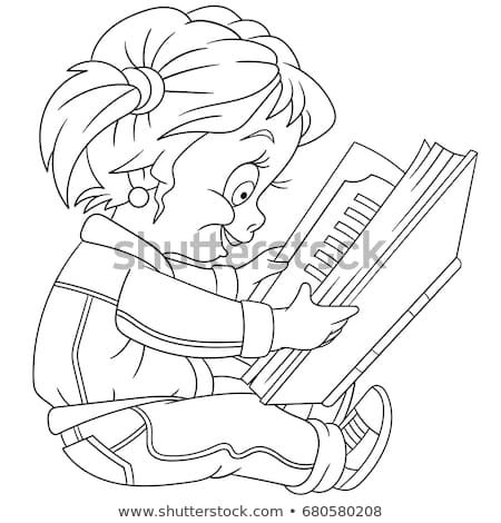 Coloring Page Of Preschool Girl Reading A Book Colouring Book For