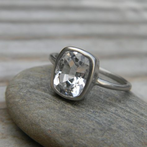 White Topaz Ring In Recycled 14k Palladium White Gold, Cushion Solitaire Engagement Ring, Made To Order.