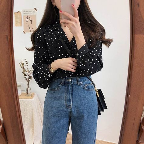 15.85US $ |2019 Fall Summer Women Korean Vintage Polka Dot Shirts Turn Down Collar Sweet Long Sleeve Shirts 2Xl Autumn Plus Size Blouses|Blouses & Shirts|   - AliExpress