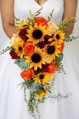 Cascading Sunflower Bouquet With Sage Green Roses Wine Roses And Orange Roses Red Bouquet Wedding Sunflower Wedding Bouquet Sunflower Themed Wedding