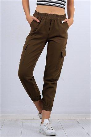 Dar Bilek Haki Bayan Kargo Pantolon 10325b Giyim Kargo Pantolon Kadin Giyim