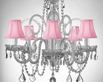 Chandelier Lighting WCrystal Pink Shades & Hearts! H25
