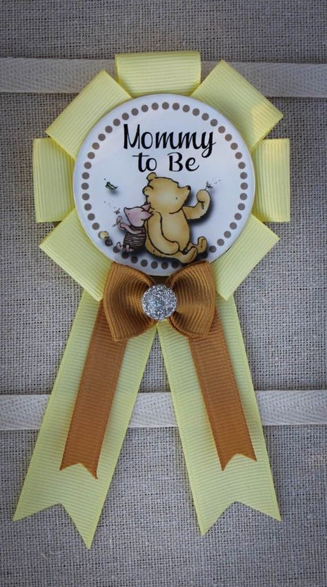 Mini Sized Winnie the Pooh Mommy to Be Pin, Winnie the Pooh Baby Shower Pin, Winnie the Pooh Shower Corsage, Winnie the Pooh Shower, Boho Baby Shower, Baby Shower Pin, Baby Shower Fall, Baby Shower Favors, Fall Baby, Baby Shower Decorations For Boys, Boy Baby Shower Themes, Baby Shower Balloons, Baby Sprinkle