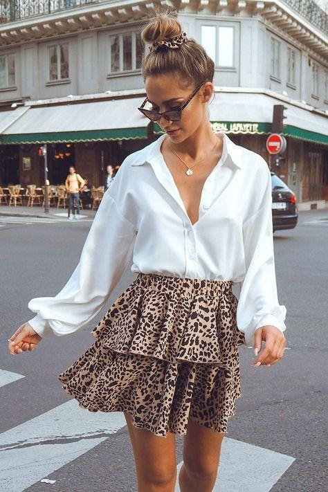 leopard print tiered mini skirt