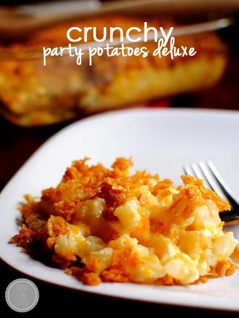 Party Potatoes Deluxe are a staple at my family's holiday get-togethers. Creamy, crunchy, and decadent! | iowagirleats.com