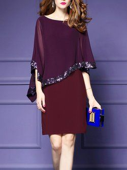 Plus Size Elegant Burgundy Sequins Asymmetric Cape Sleeve Sheath Chiffon Dress Elegant Casual Dress Elegant Dresses Bodycon Dress With Sleeves