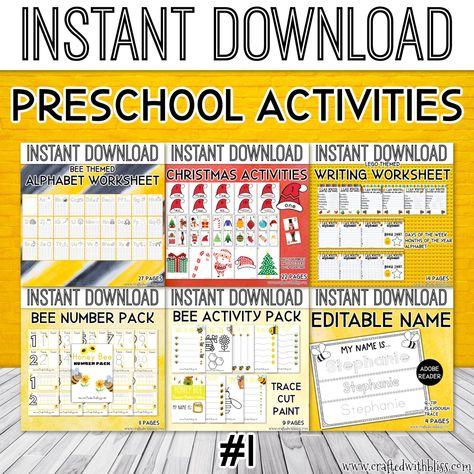 Preschool Activities, Preschool tracing activities, Preschool Number Activities, Preschool Writing Activities, Preschool Worksheet