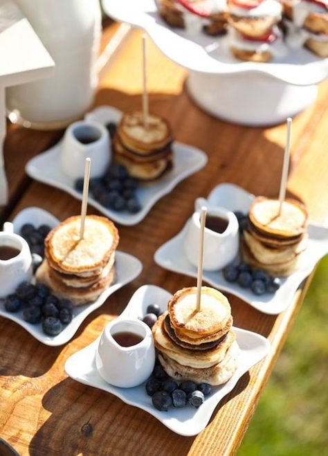 12 Tiny Wedding Treats That Will Satisfy Big-Time: Petite Pancakes. These bite-sized breakfast plates are sure to put a smile on everyone's face. Photo by Ifong Chen; Food by Feast Catering Company