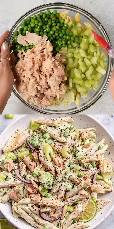 CREAMY TUNA PASTA SALAD dressing recipes easy for lunch ideas to work ideas recipes recipes for dinner recipes healthy for parties Healthy Food Recipes, Healthy Meal Prep, Healthy Eating, Dinner Healthy, Clean Eating, Healthy Filling Meals, Healthy Cold Lunches, Fitness Meal Prep, Lunch Snacks