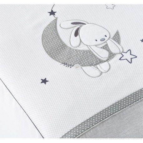 Edredon y protector Lune con conejo y estrellas gris para