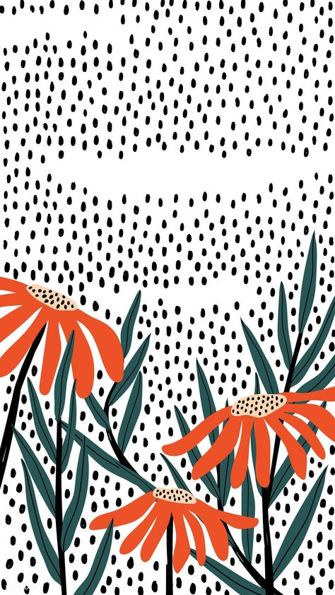 Orange daisies on a polka dot background vector | premium image by rawpixel.com