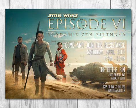 Star Wars The Force Awakens Invitations Finn Rey Poe