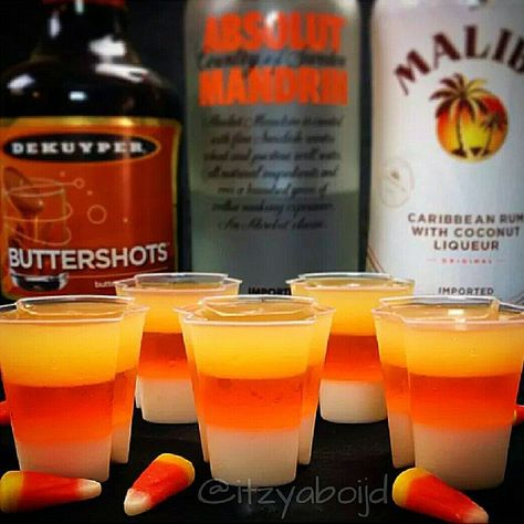 Candy Corn Jello Shots {The Tipsy Bartender} Halloween Cocktails, Halloween Jello Shots, Halloween Desserts, Halloween Food For Party, Halloween Treats, Adult Halloween Drinks, Halloween Halloween, Holloween Party Ideas, Halloween Food For Adults